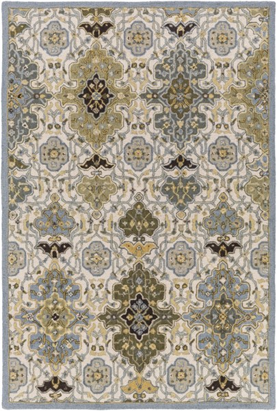 Castille Olive Gold Gray Wool Area Rug - 60 x 90 CTL2007-576