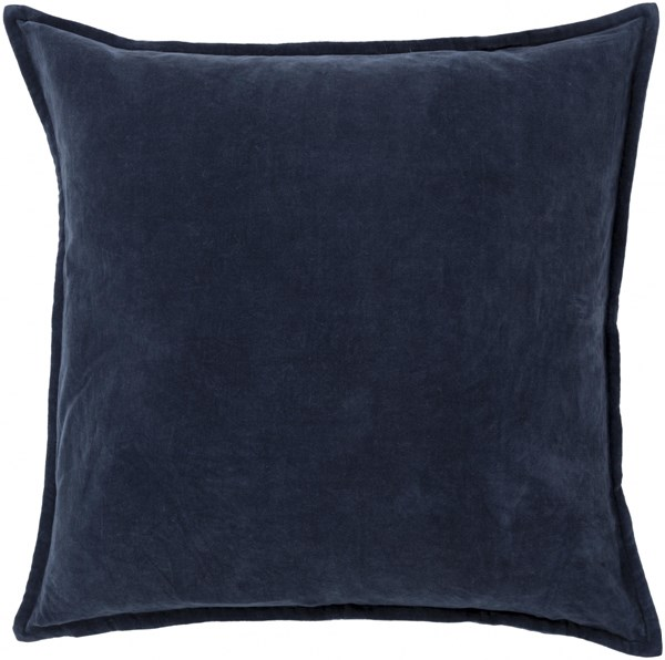 Cotton Velvet Navy Charcoal Down Cotton Throw Pillow - 22x22x5 CV009-2222D