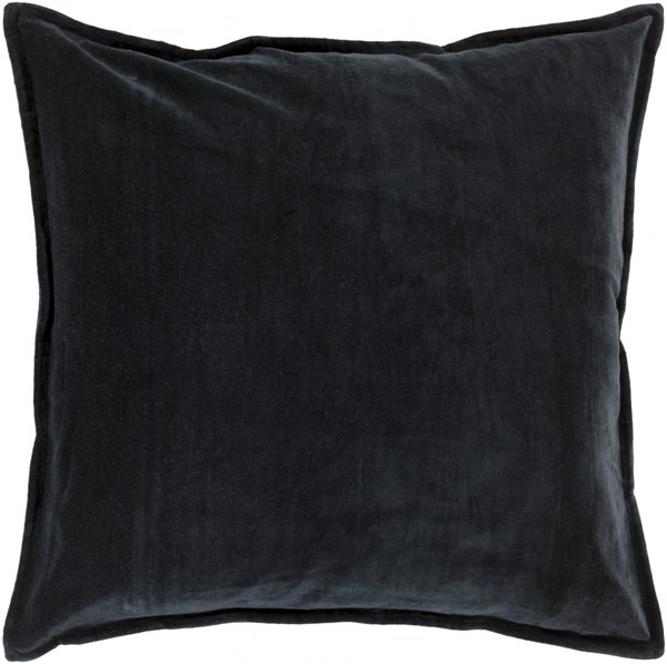 Cotton Velvet Black Charcoal Poly Cotton Throw Pillow - 22x22x5 CV012-2222P