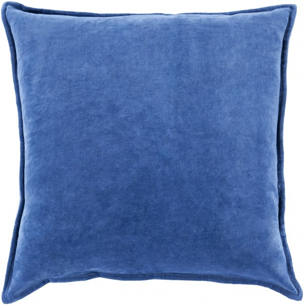 Cotton Velvet Cobalt Poly Cotton Throw Pillow - 22x22x5 CV014-2222P