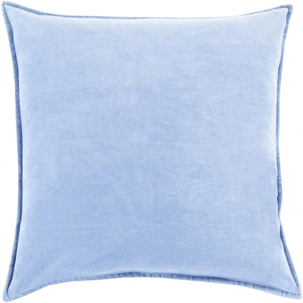 Cotton Velvet Light Blue Down Cotton Throw Pillow - 20x20x5 CV015-2020D