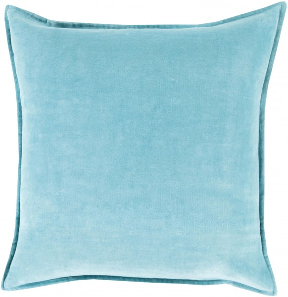 Cotton Velvet Sky Blue Poly Cotton Throw Pillow - 22x22x5 CV019-2222P