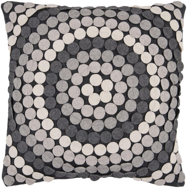 Halo Black Gray Beige Down Wool Nylon Fiber Throw Pillow - 18x18x4 CW056-1818D