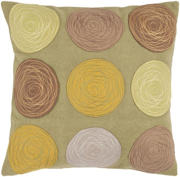 Surya Bright Yellow Beige Fabric Square Pillow Kits CW058-VAR