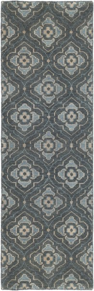 Cypress Forest Sky Blue Beige Wool Runner (L 96 X W 30) CYP1012-268