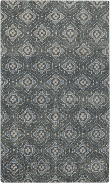Cypress Forest Sky Blue Beige Wool Area Rug (L 96 X W 60) CYP1012-58