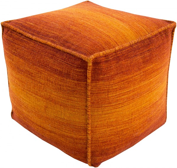 Chaz Tangerine Burnt Orange Cherry Wool Pouf (L 18 X W 18 X H 18) CZPF001-181818