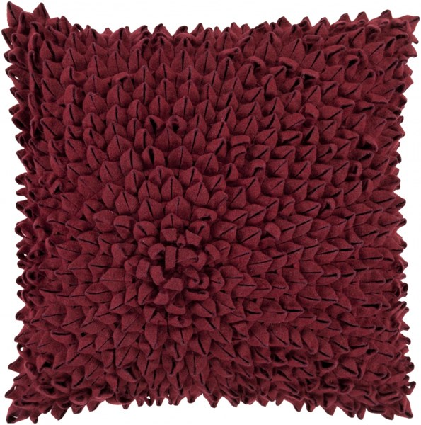 Dahlia Burgundy Poly Acrylic Throw Pillow - 20x20x5 DA004-2020P