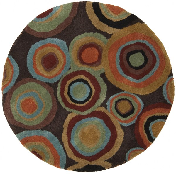 Dazzle Modern Chocolate Rust Black Wool Area Rug (L 36 X W 36) DAZ6511-3RD