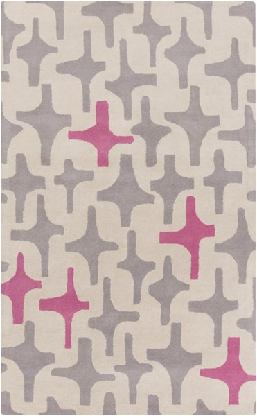 Decorativa Light Gray Hot Pink Wool Area Rug - 60 x 96 DCR4000-58