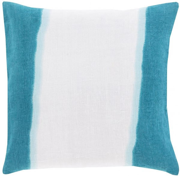 Double Dip Light Gray Teal Mint Poly Linen Throw Pillow - 18x18x4 DD005-1818P