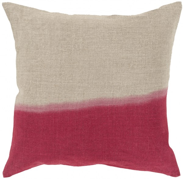 Dip Dyed Light Gray Cherry Down Linen Throw Pillow - 18x18x4 DD013-1818D