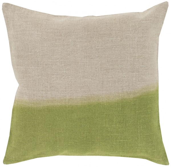 Dip Dyed Light Gray Lime Poly Linen Throw Pillow - 18x18x4 DD015-1818P