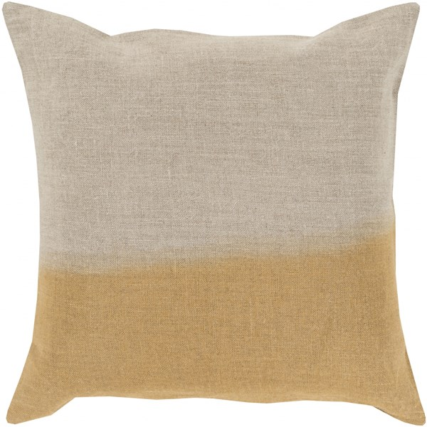 Dip Dyed Light Gray Gold Down Linen Throw Pillow - 18x18x4 DD017-1818D