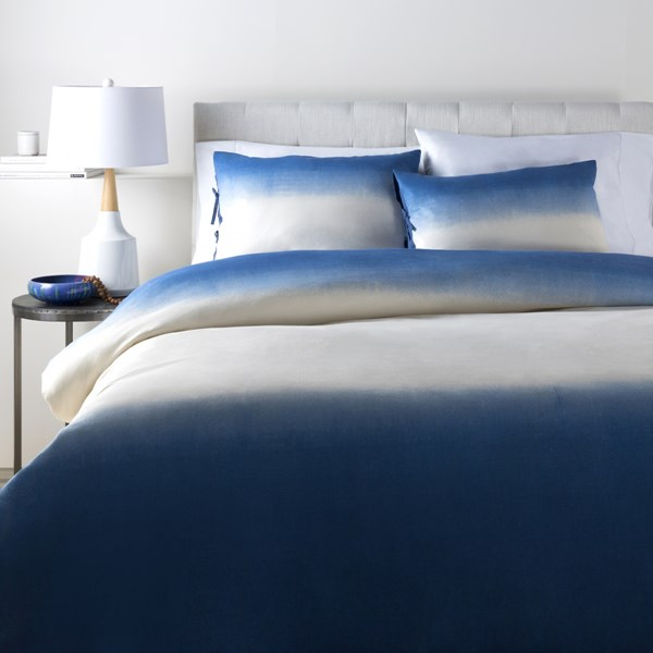 Dip Dyed Contemporary Navy Cotton Flax King Duvet (L 92 X W 108) DDP2001-K