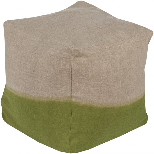 Dip Dyed Contemporary Light Gray Lime Fabric Pouf (L 18 X W 18 X H 18) DDPF004-181818