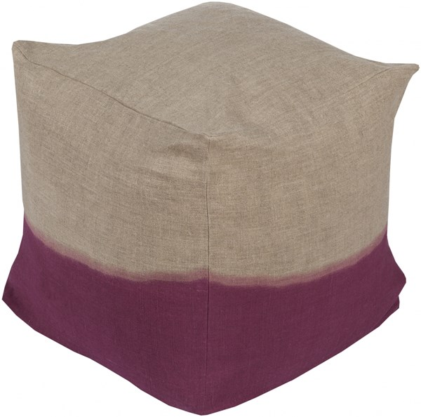 Dip Dyed Contemporary Gray Magenta Fabric Pouf (L 18 X W 18 X H 18) DDPF005-181818