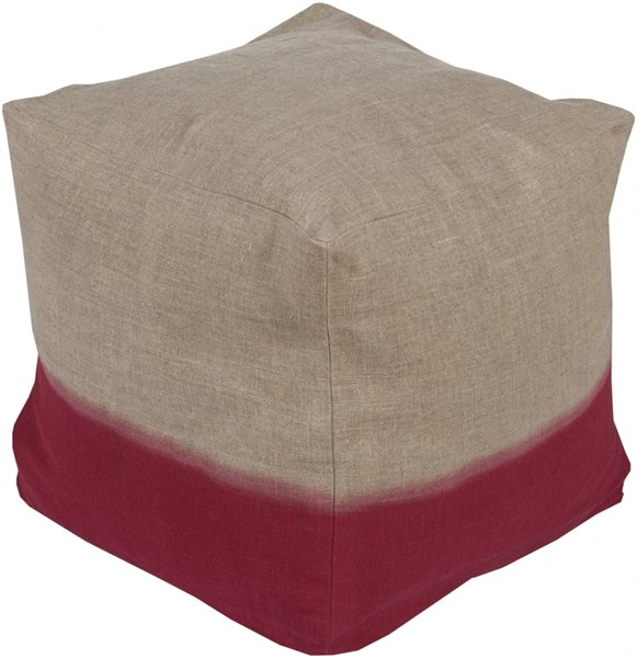 Dip Dyed Contemporary Gray Cherry Fabric Pouf (L 18 X W 18 X H 18) DDPF006-181818