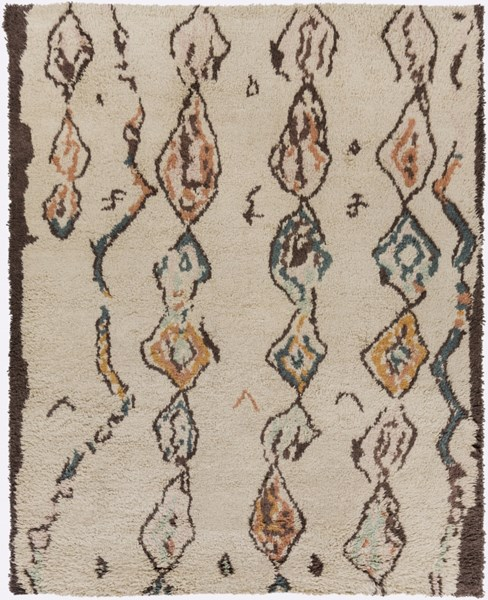 Denali Beige Burnt Orange Teal Chocolate Wool Area Rug (L 120 X W 96) DEN5002-810