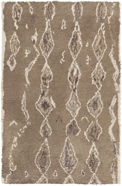 Denali Taupe Light Gray Chocolate Wool Area Rug (L 96 X W 60) DEN5003-58