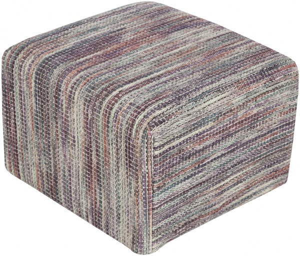 Dahlia Rust Iris Light Gray Cotton Pouf - 18x18x12 DHPF002-181812