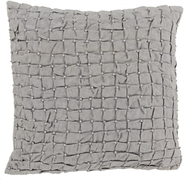 Diana Pillow With Down Fill In Ivory Dark Gray - 20 x 20 x 5 DN003-2020D