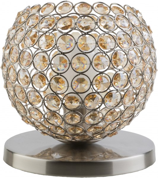 Dauphine Brushed Nickel Silver Iron Crystal Table Lamp (W 8 X H 8) DPH190-TBL