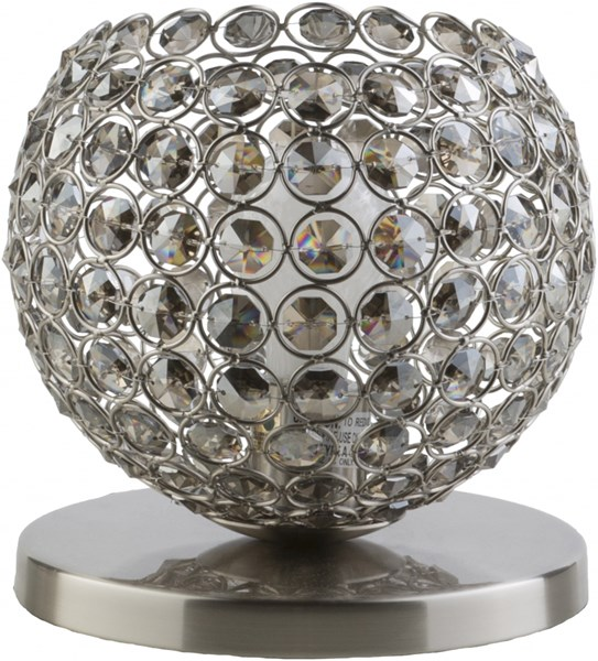 Dauphine Brushed Nickel Gray Iron Crystal Table Lamp (W 8 X H 8) DPH191-TBL