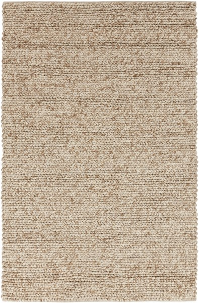 Desoto Contemporary Ivory Beige Tan Wool Area Rug (L 96 X W 60) DSO201-58