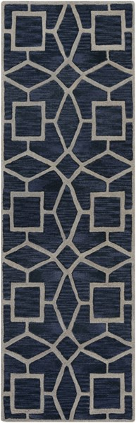 Dream Contemporary Navy Gray Wool Runner (L 96 X W 30) DST1169-268