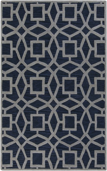 Dream Contemporary Navy Gray Wool Area Rug (L 96 X W 60) DST1169-58