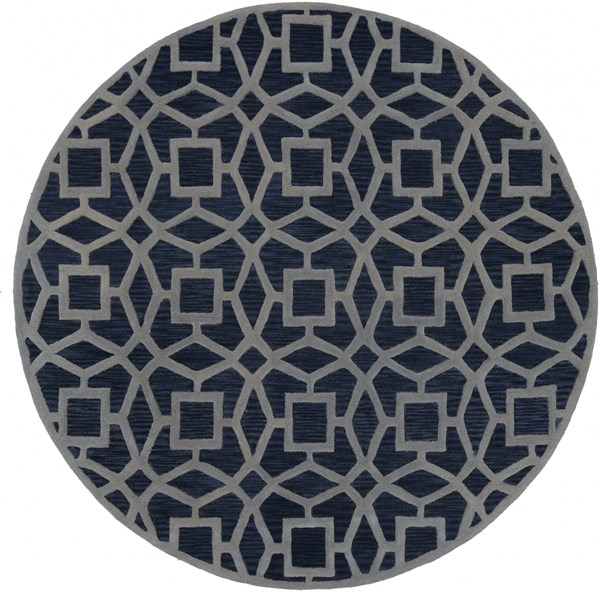 Dream Contemporary Navy Gray Wool Area Rug (L 96 X W 96) DST1169-8RD