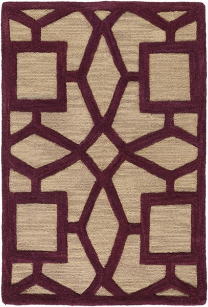 Dream Contemporary Beige Magenta Wool Area Rug (L 36 X W 24) DST1171-23