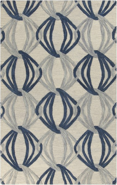 Dream Contemporary Gray Cobalt Moss Wool Area Rug (L 96 X W 60) DST1175-58