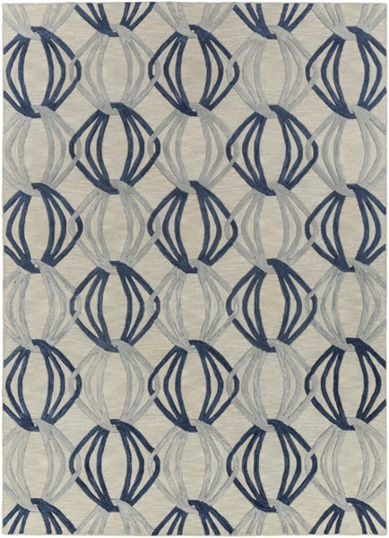Dream Contemporary Gray Cobalt Moss Wool Area Rug (L 132 X W 96) DST1175-811
