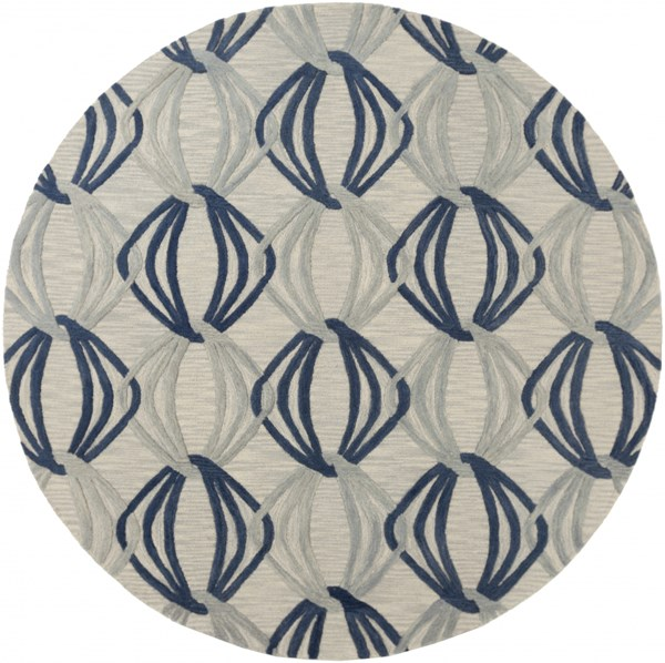 Dream Contemporary Gray Cobalt Moss Wool Area Rug (L 96 X W 96) DST1175-8RD