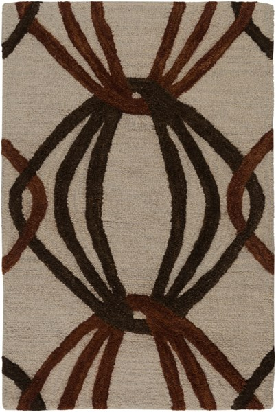 Dream Contemporary Beige Rust Chocolate Wool Area Rug (L 36 X W 24) DST1176-23