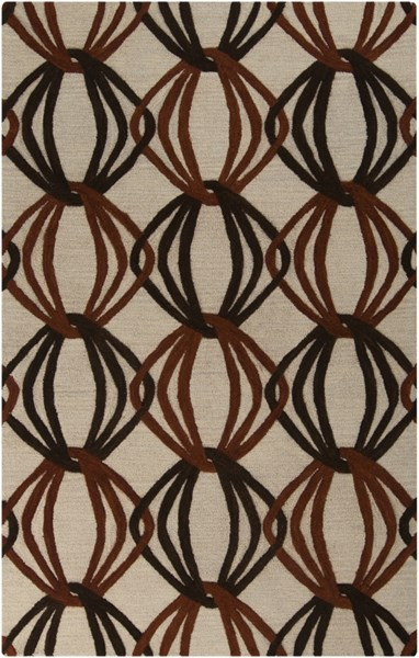 Dream Contemporary Beige Rust Chocolate Wool Area Rug (L 96 X W 60) DST1176-58