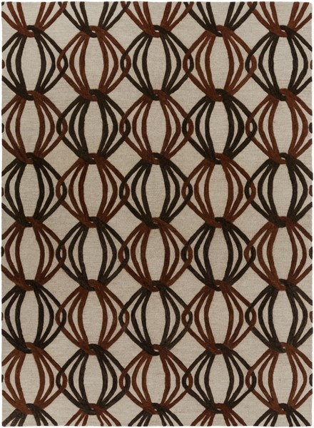 Dream Contemporary Beige Rust Chocolate Wool Area Rug (L 132 X W 96) DST1176-811