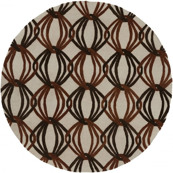 Dream Contemporary Beige Rust Chocolate Wool Area Rug (L 96 X W 96) DST1176-8RD