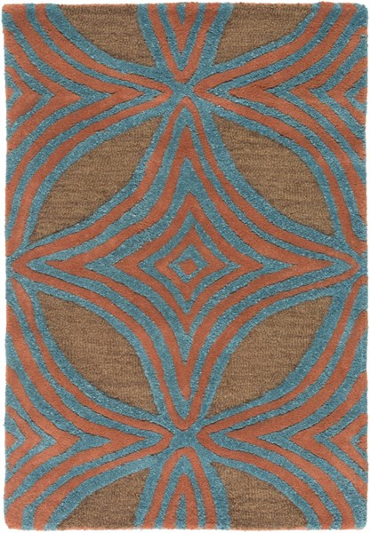 Dream Contemporary Chocolate Teal Rust Wool Area Rugs 1301-VAR1