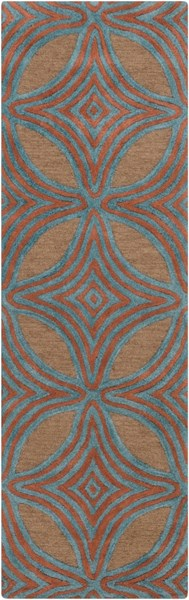 Dream Contemporary Chocolate Teal Rust Wool Runner (L 96 X W 30) DST1182-268