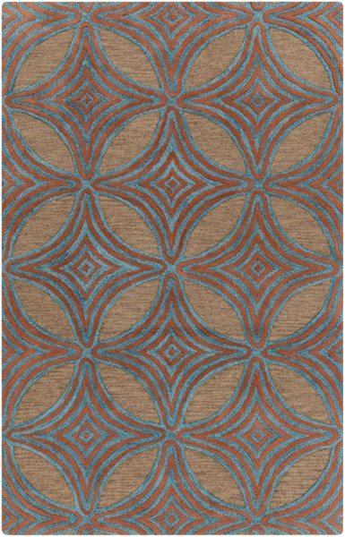 Dream Contemporary Chocolate Teal Rust Wool Area Rug (L 96 X W 60) DST1182-58