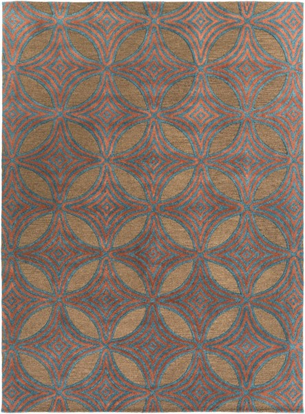 Dream Contemporary Chocolate Teal Rust Wool Area Rug (L 132 X W 96) DST1182-811