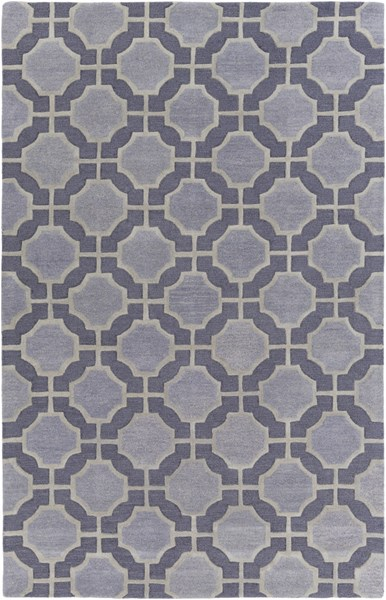 Dream Contemporary Navy Slate Gray Wool Area Rug (L 96 X W 60) DST1184-58