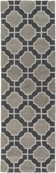Dream Contemporary Black Gray Charcoal Wool Runner (L 96 X W 30) DST1185-268