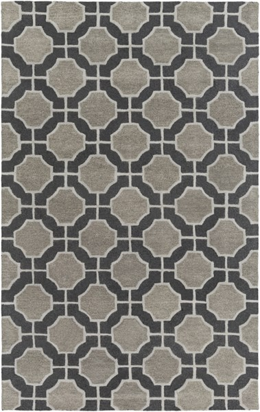 Dream Contemporary Black Gray Charcoal Wool Area Rug (L 96 X W 60) DST1185-58