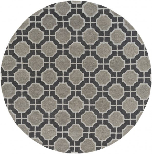 Dream Contemporary Black Gray Charcoal Wool Area Rug (L 96 X W 96) DST1185-8RD