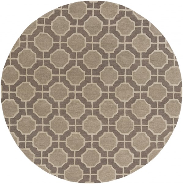 Dream Contemporary Olive Gray Wool Area Rug (L 96 X W 96) DST1186-8RD