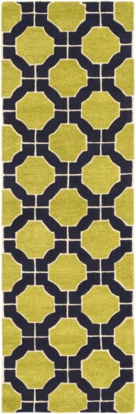 Dream Contemporary Lime Navy Ivory Wool Runner (L 96 X W 30) DST1187-268